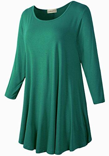 LARACE Women 3/4 Sleeve Tunic Top Loose Fit Flare T-Shirt(3X, Deep Green) by LARACE (Image #2)