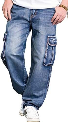 Aishang Men's Hip-hop Washed Blue Baggy Jeans Multi-pocket Cargo Jeans