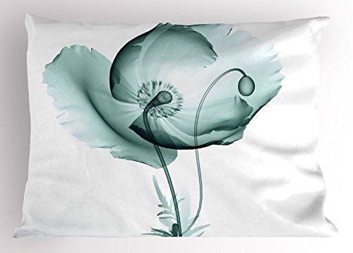 Lunarable Flower Pillow Sham, Poppy Flower Blooms Floral Radiographs Unusual Rare Art Print Home Decoration, Decorative Standard King Size Printed Pillowcase, 36 X 20 Inches, Teal and White (Bloom Pillow Sham)