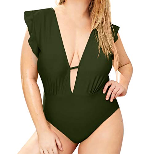 - Alangbudu Women One Piece Ruffled Plunge Surplice V Neckline Ruced Swimsuit Tummy Control High Leg Cutout Plus Monokini Army Green