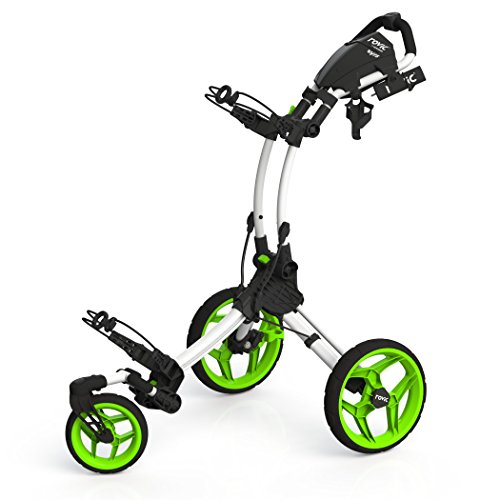 Clicgear Rovic Model RV1S Swivel | 3-Wheel Golf Push Cart (Arctic/Lime)