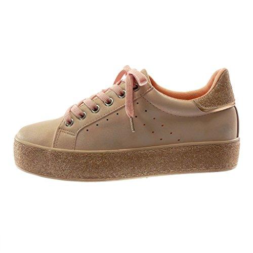 Angkorly Damen Schuhe Sneaker - Tennis - Sporty Chic - Plateauschuhe - Glitzer - Perforiert - Glänzende Flache Ferse 3.5 cm Rosa