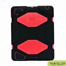 Ipad case,Travellor®ipad 4 case for kids rainproof Shockproof Drop Resistance for Apple Ipad 2/3/4 [Black-Red]