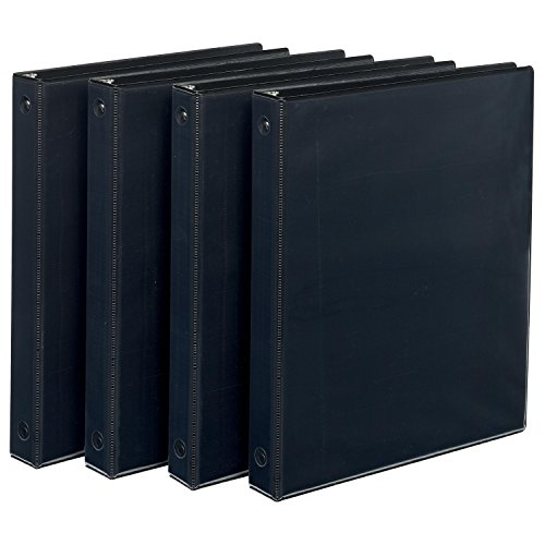 Avery Economy View Binder with 1-Inch Round Ring, Black, Pack Of 4 (19203)