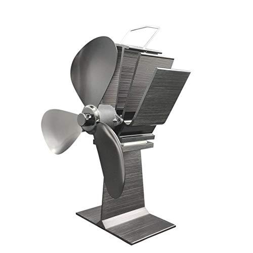 Pudincoco 3 Cuchillas Soplador de Aire Calentador de Estufa de leña de Motor pequeño Quemador de leña Duradero Ventilador...