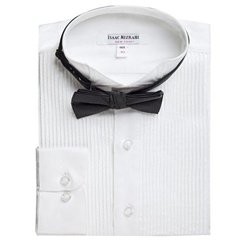 Isaac Mizrahi Boy's SH9250 Wing Tip Long Sleeve Tuxedo Shirt with Bowtie - White - 16 (16 Tuxedo)