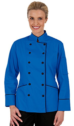 Women's Ocean Blue Long Sleeve Chef Coat with Piping (XS-3X) (X-Large) by ChefUniforms.com