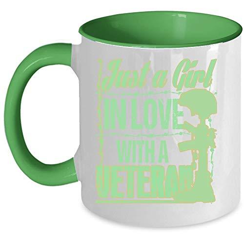Cool Veteran Coffee Mug, Just A Girl In Love With A Veteran Accent Mug (Accent Mug - Green)