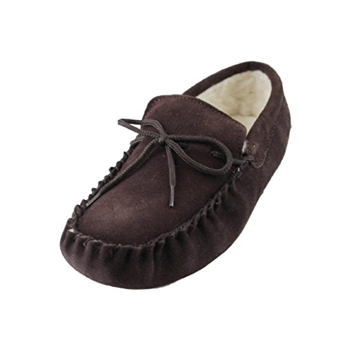 Deluxe Mens Sheepskin Wool Moccasin Slippers with Soft Sole - Suede Upper (12 D(M) US, Brown)