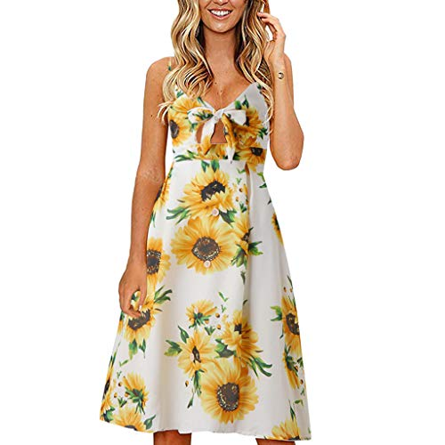 Startview Women's Summer Lace Front V-Neck Buttoned Striped Backless Dress (Yellow, L)