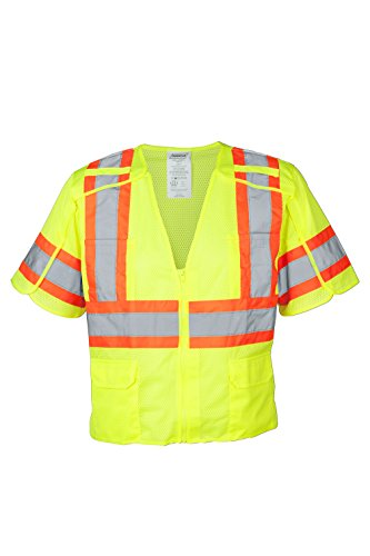 Ironwear 1293BRK-LZ-3-LG ANSI Class 3 Polyester Mesh Breakaway SAFETY Vest with Zipper & 4