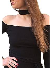Simplee Apparel Girl's Halter Off Shoulder Crop Top T Shirt Slash Neck 90s Black
