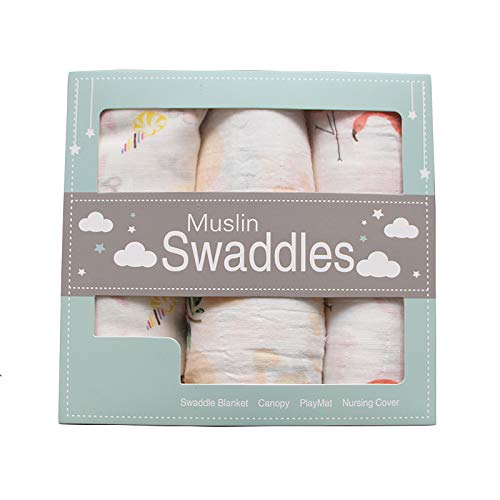 Swaddle Blanket for Baby 100% Muslin Cotton 3 Pieces Set with Beautiful Patterns - Flamingo, Monkey, Flower - Premium Quality & Extra Large XL 47 X 47 Inches