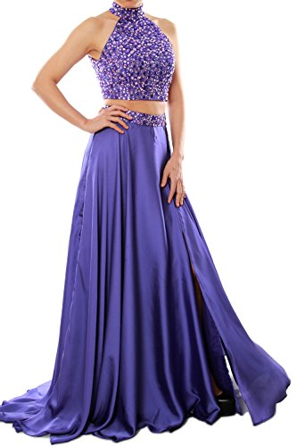 MACloth Women Two Piece Prom Dress High Neck Chiffon Long Formal Evening Gown Verde Oscuro