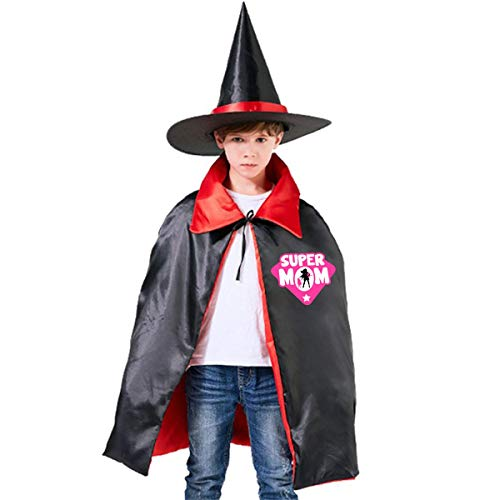 Super Mom Super Hero Mother's Day, Funny at Halloween Red Superman,Thanksgiving Day Wizard Hat Cape Cloak S