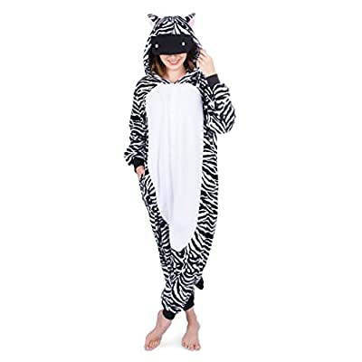 Emolly Fashion Zebra Onesie - Soft and Comfortable With Pockets! Fun As a Costume or Pajamas - For Men Women Teens Adults! 5% Of Sales Donated To San Diego Zoo Global Wildlife conservancy