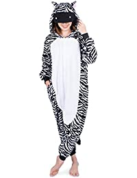 Zebra Onesie - Soft and Comfortable With Pockets! Fun As a Costume or Pajamas - For Men Women Teens Adults! 5% Of Sales Donated To San Diego Zoo Global Wildlife conservancy