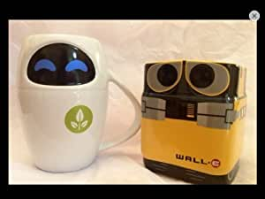 Disney Store Wall-e and Eve Ceramic 16oz 3D Mug Set