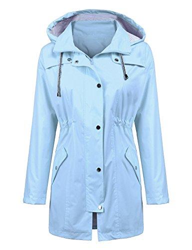 (Outdoor Rain Jacket Casual Jackets Long rain Jacket Rainwear Sportswear Jacket Hooded Rainwear Poncho for Women Light Blue S)