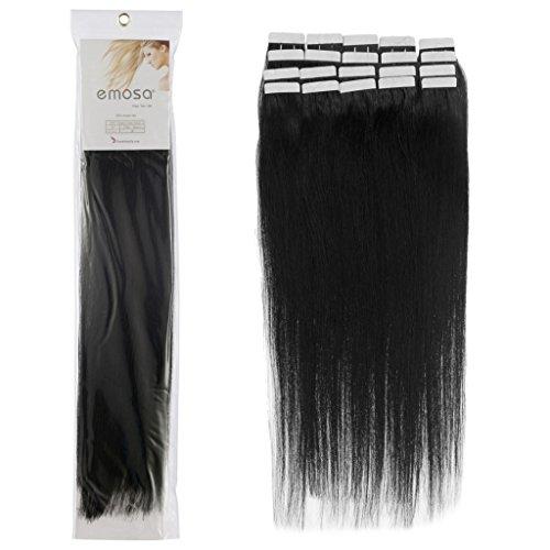Emosa 16 Inch 01 Jet Black Tape in Premium Remy Human Hair Extensions_20 Pcs Set 50g Straight Women Salon Style Design