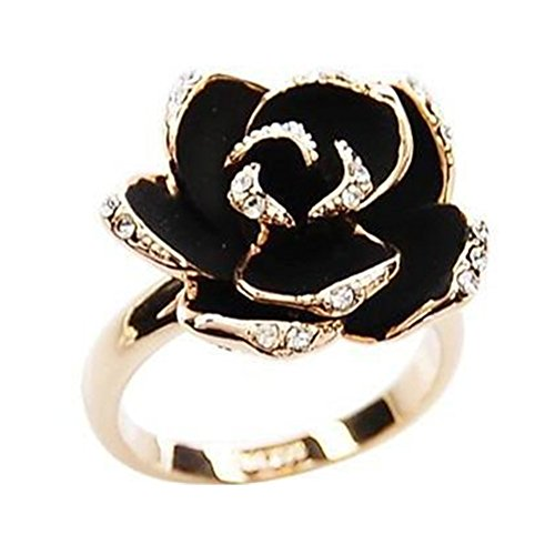 18K Gold Plated CZ Shining Black Rose Flower charm Women Open Adjustable Band Ring (Plated Black Gold)