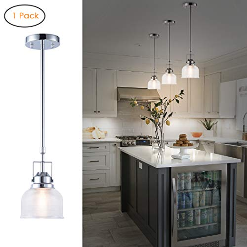Harchee Vintage Hood Pendant Light Frosted Barn Shade with Adjustable Rods, 1-Light Mini Transitional Pendant Lighting for Kitchen Island Restaurants Hotels Bar and Shops, Chrome Finish