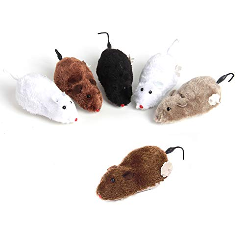 """SBYURE 6 Pack Wind Up Racing Mice-Realistic Looking Mice for Kids,4-1/2"""" Long Furry Realistic Prank Toy(Black, Gray, White, Brown)"""