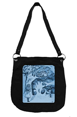 Canvas Messenger Bag Featuring Alice & the Cheshire Cat - Handcrafted