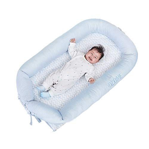 Portable Crib Multifunctional Bionic Bed Anti-Pressure Cot Comfortable and Breathable Sleeping Mat Cuddle Nest (Color : Blue, Size : 90x50x15cm) ()