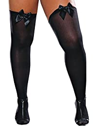 Women's Plus-Size Thigh-High Stockings with Bow