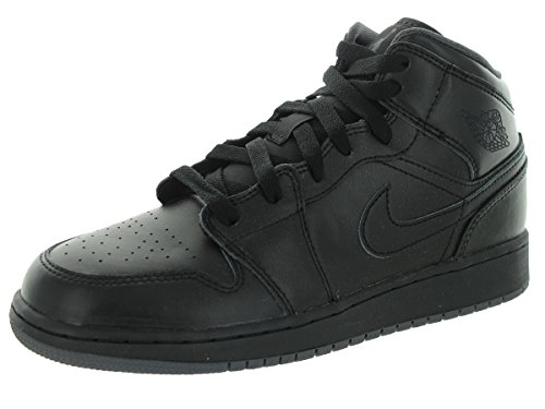 Jordan Air Jordan 1 Mid Youth Round Toe Leather Gray Basketball Shoe (7 M US, Black/Black/Dark - Kids Jordans On Sale