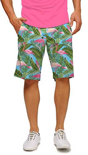Loudmouth Golf Flamingo Garden StretchTech Men's Short 36