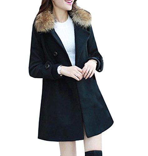Casual Mujer para chaquetas Gabardina parka abrigos con sintético Larga Negro de piel cuello FnZqxxp