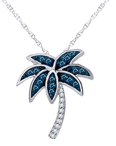 Sale 1/10 CT Blue and White Diamond Palm Tree Pendant in Sterling Silver ()