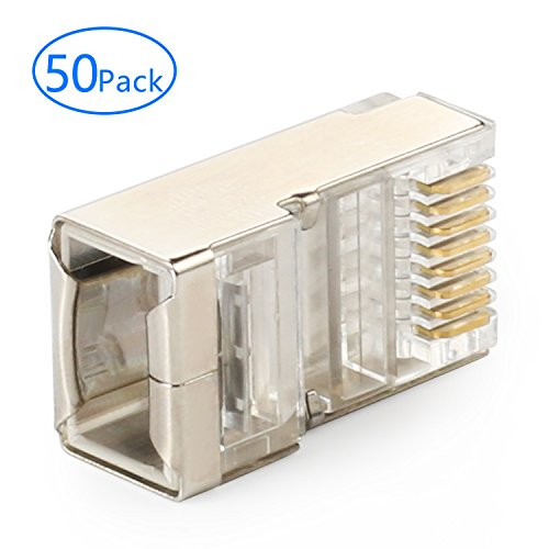 Cat5 Modular Plug (Tainston Shielded RJ45 Connector CAT5E CAT6 Crimp Ethernet Connector STP 8P8C Modular Crystal Head Plugs 50 Pieces)