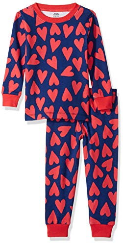 - Amazon Essentials Baby Girls Long-Sleeve Tight-Fit 2-Piece Pajama Set, Hearts Blue, 12-18M