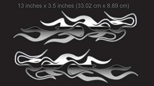 East Coast Vinyl Werkz Chaser Flames - 2pc Set - for Harley Davidson and All Other Motorcycles (Polished Chrome)
