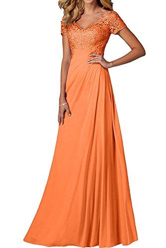 Spitze V Partykleider Festlichkleider Brautmutterkleider linie Rock A Orange Kurzarm Damen ausschnitt Lang Abendkleider Charmant qxn4wfTBFW