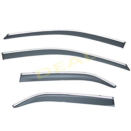 DEAL 4-piece set vent window visor with smoke chrome trim, side window rain guard with outside mount tape-on type, custom fit high-class quality for 2012-2017 Toyota Camry All Models