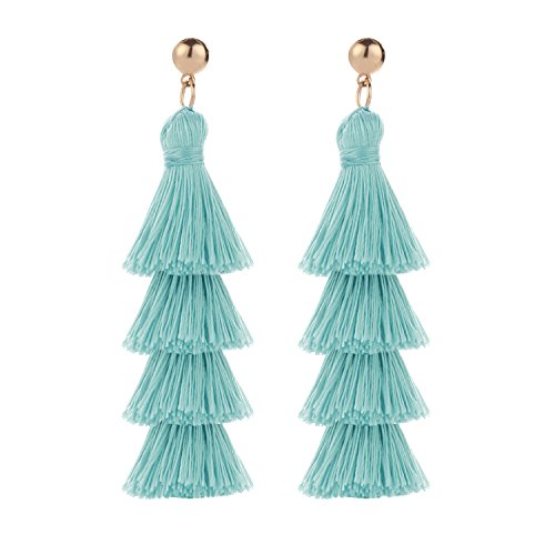 BaubleStar Fashion Gold Tassel Dangle Earrings Layered Long Bonita Tiered Thread Tassel Turquoise Blue Drop Statement Jewelry for Women Girls BAN0054T