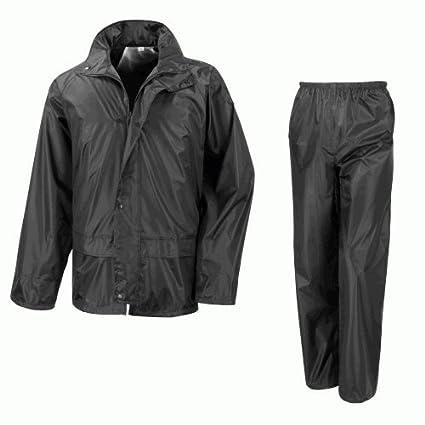 Impermeable motocicleta sobre chaqueta y pantalones, traje de 2 piezas – negro