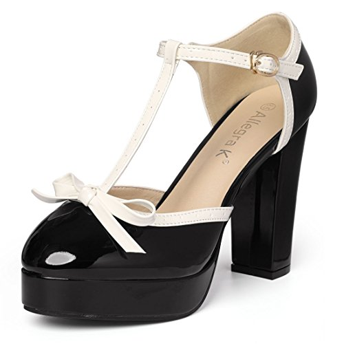 Allegra K Womens Bow T-Strap Platform Pumps Black dx3AhWL