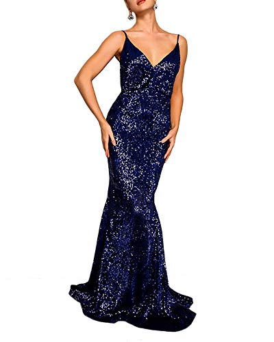 Joyfunear Women's Sequined Sparkle Mermaid Evening Party Cocktail Maxi Long Dress Prom Gown Navy ()