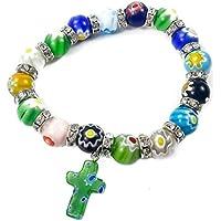 Agate Colorful Flowers Beads Stretchable Bracelet Zircons Crystal & Cross Jerusalem