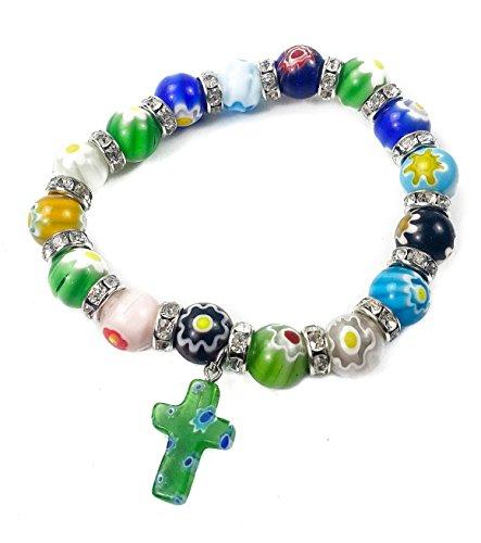 Agate Colorful Flowers Beads Cross Bracelet Stretchable Catholic Rosary Bangle Jerusalem Holy Land