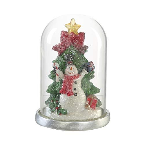 CEDAR HOME Glass Cloche with LED Ornaments Snowman Table Decor Christmas Home Decoration Holiday Light, 4.75