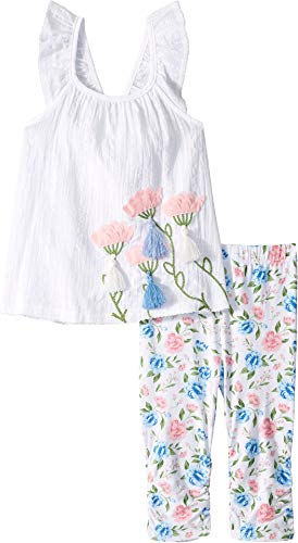 Mud Pie Baby Girl's Floral Tunic and Capris (Infant/Toddler) White 5T ()
