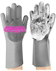 Magic Silicone Household Cleaning Gloves, anzoee Reusable Rubber Dishwashing Gloves Kitchen Gloves with Sponge Scrubbers for Household, Pet Bathing, Bathroom, Fruit and More(Grey)