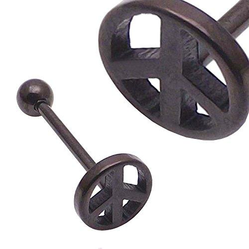 plaqué titane noir logo signe de paix langue barbell de calibre 14 (1,6mm x 18mm)