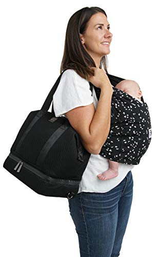 Baby K'tan Flex Diaper Bag – Convertible Baby Diaper Bag with Baby Changing Pad, Cooler & Multiple Pockets – Adjustable Tote, Messenger or Backpack Baby Bag, Mesh Black